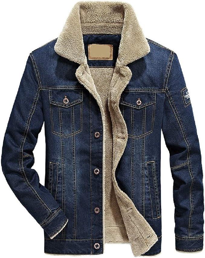 Yeirui Men Sherpa Coat Fleece Lined Casual Thicken Denim Trucker Jacket Coat