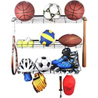 Kinghouse Sports Equipment Storage Rack, Sports Ball Storage Rack with 3 Baskets and 4 Hooks, Ball Rack for Garage…
