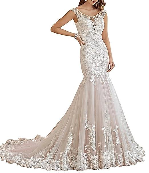 7f7eaf373ca3 XUYUDITA Abiti da sposa romantici del vestito da cerimonia nuziale del  merletto della sirena di V che bordano le donne abiti nuziali  Amazon.it   ...