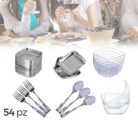 609607 FINGER FOOD Vajilla + Cubertería de plástico (Set de 54 piezas)
