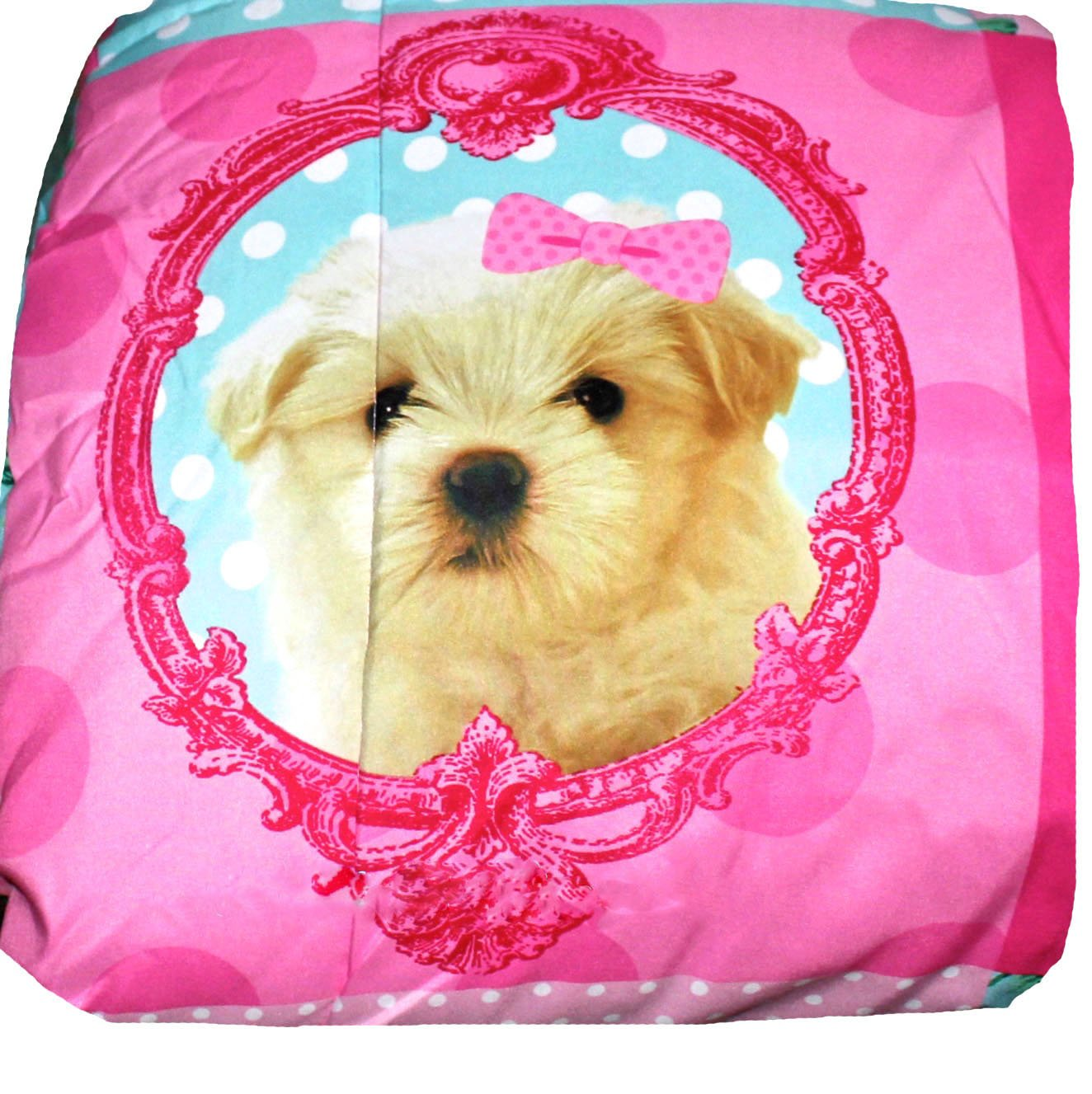 Princess Puppy Kitty 9pc Pink Patchwork FULL/QUEEN SIZE Comforter(86'' x 86''), 2-Shams, FULL SIZE SHEET SET + TWO DECORATIVE TOSS PILLOWS!