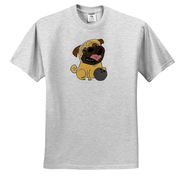Adult T-Shirt XL ts/_309106 3dRose All Smiles Art Pets Funny Cute Pug Puppy Dog Bowling Cartoon