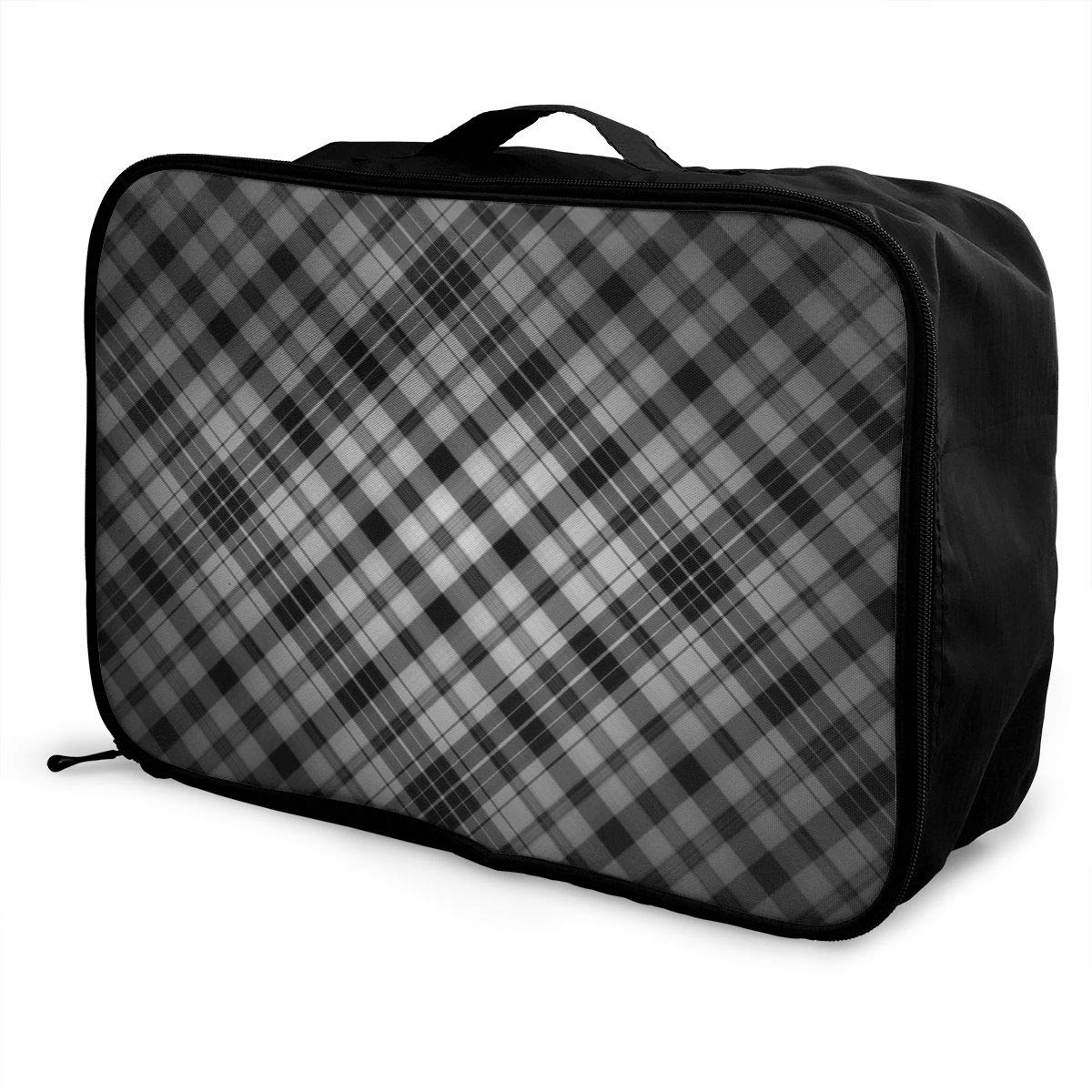 ADGAI Black and White Gingham Canvas Travel Weekender Bag,Fashion Custom Lightweight Large Capacity Portable Luggage Bag,Suitcase Trolley Bag