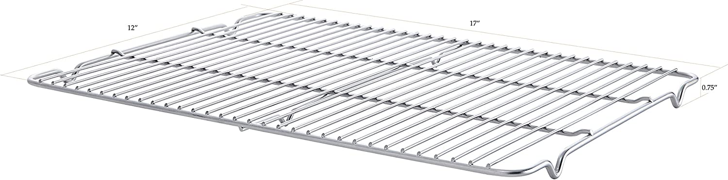 "SunnyPoint 100% Stainless Steel Wire Cooling Rack for Baking, Cool Cookies, Cake, Breads - Over Cooking, Roasting, Grilling - Heavy Duty Commercial Quality. (1, 11.5"" X 16.5"")"