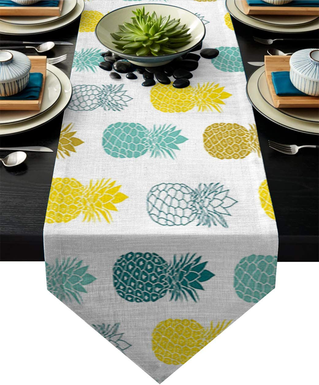 BetterDay Cotton Linen Table Runner Colorful Pineapple Design 18x72 Inch Burlap Table Runners for Party Wedding Dining Farmhouse Outdoor Picnics Table Top Decor