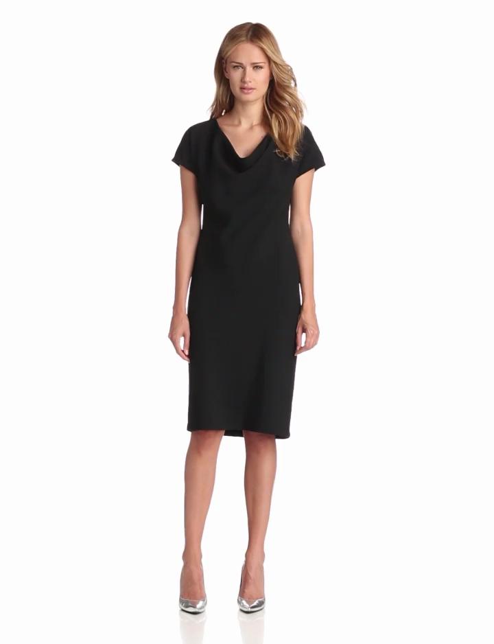 Jones New York Womens Cowl Neck Sheath Dress, Black, 14