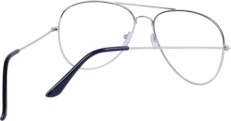 JoXiGo Brille Ohne Sehst/ärke f/ür Herren Damen Pilotenbrille Metallgestell Klare Linse Dekobrille mit Etui