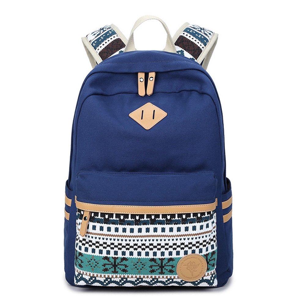Abshoo Canvas Lightweight Student Backpacks for Girls School Bags (Black) ZLSB0140B07