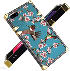 Fiyart iPhone 7 Plus, iPhone 8 Plus Case Luxury Hummingbird Painting Pink Cherry Blossom Square Soft TPU Wrapped Edges and Hard PC Back Stylish Classic Retro Case 5.5 inch