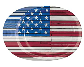 Amazon.com: 4th of July Patriotic American Wooden Flag Premium Oval ...