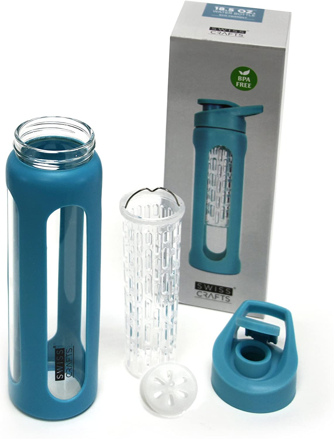 Eco Friendly Non-Toxic-Break Resistant Borosillicate Glass 18.5 Oz Sport Bottle with Infusion and Protective Silicone Sleeve With Leak-proof Caps Swiss Craft Fruit Infuser Water Bottle BLUE, 1 SET
