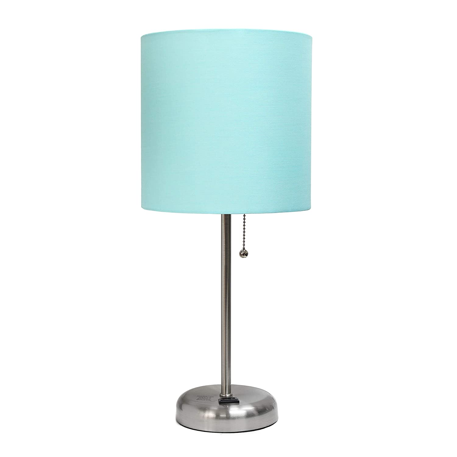 Limelights LT2024-AQU Stick Lamp with Charging Outlet and Fabric Shade, Aqua