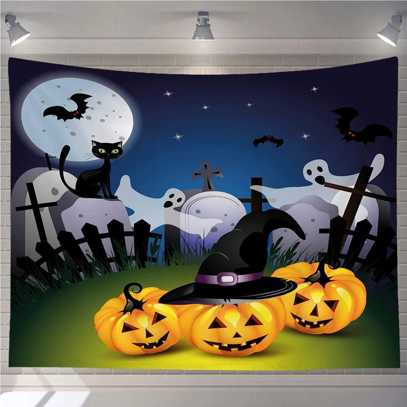 OTTOSUN Halloween Tapestry Wall Hanging,Halloween Funny Cartoon Pumpkins Witches Hat Ghosts Graveyard Full Moon Cat Multicolor,Wall Art for Living Room Bedroom Home Decor,60x50 in