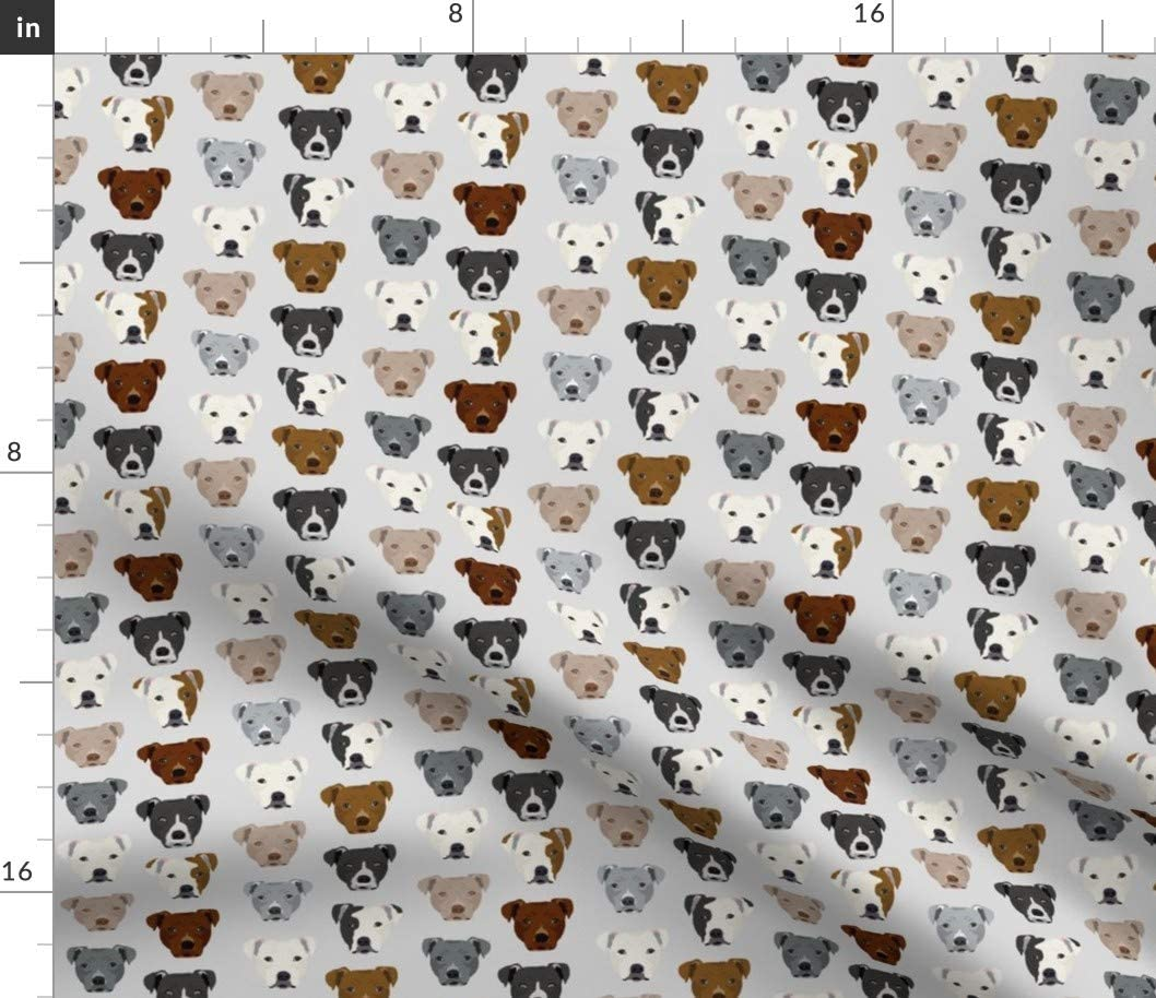 Spoonflower Fabric - Pitbull Heads Smaller Terrier Dog Light Grey Pitbulls Dogs Head Gray Printed on Petal Signature Cotton Fabric by The Yard - Sewing Quilting Apparel Crafts Decor