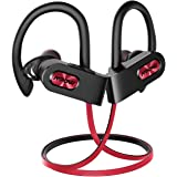 Mpow FLAME2 Bluetooth Headphones Sport, 12Hrs & Bluetooth 5.0 Wireless Sport Earphones, IPX7 Waterproof Running Headphones W/CVC 6.0 Noise Cancelling Mic, Bluetooth Earphones w/Comfort-Slanting, Red