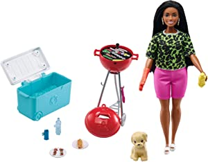 Barbie Mini Playset with Themed Accessories and Pet, BBQ Theme with Scented Grill, Gift for 3 to 7 Year Olds (GRG76)