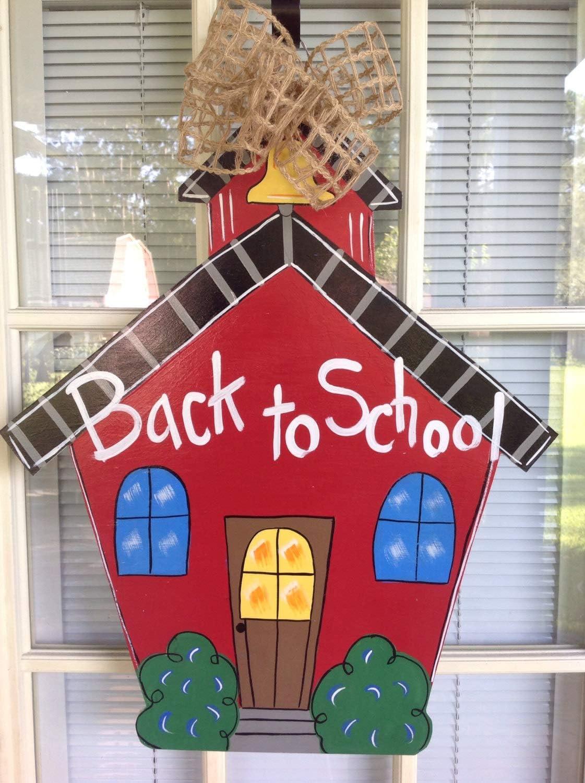 Encounter168 Back to School Wreath Teacher Door Hanger Classroom Decor School Wreath School House Door Hanger Teacher Door Hanger School House
