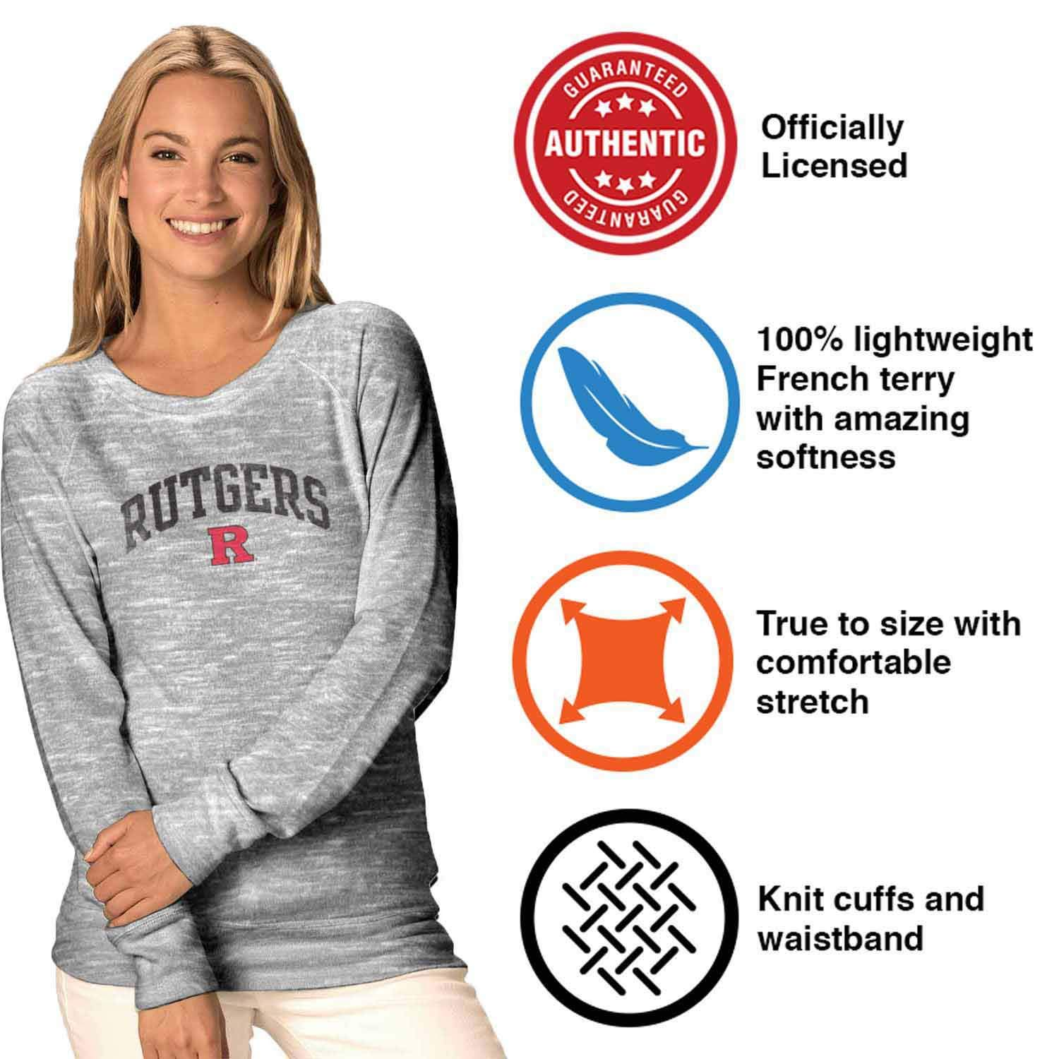 Gray Camp David Rutgers Scarlet Knights Womens Ultimate Lightweight Carefree Crewneck