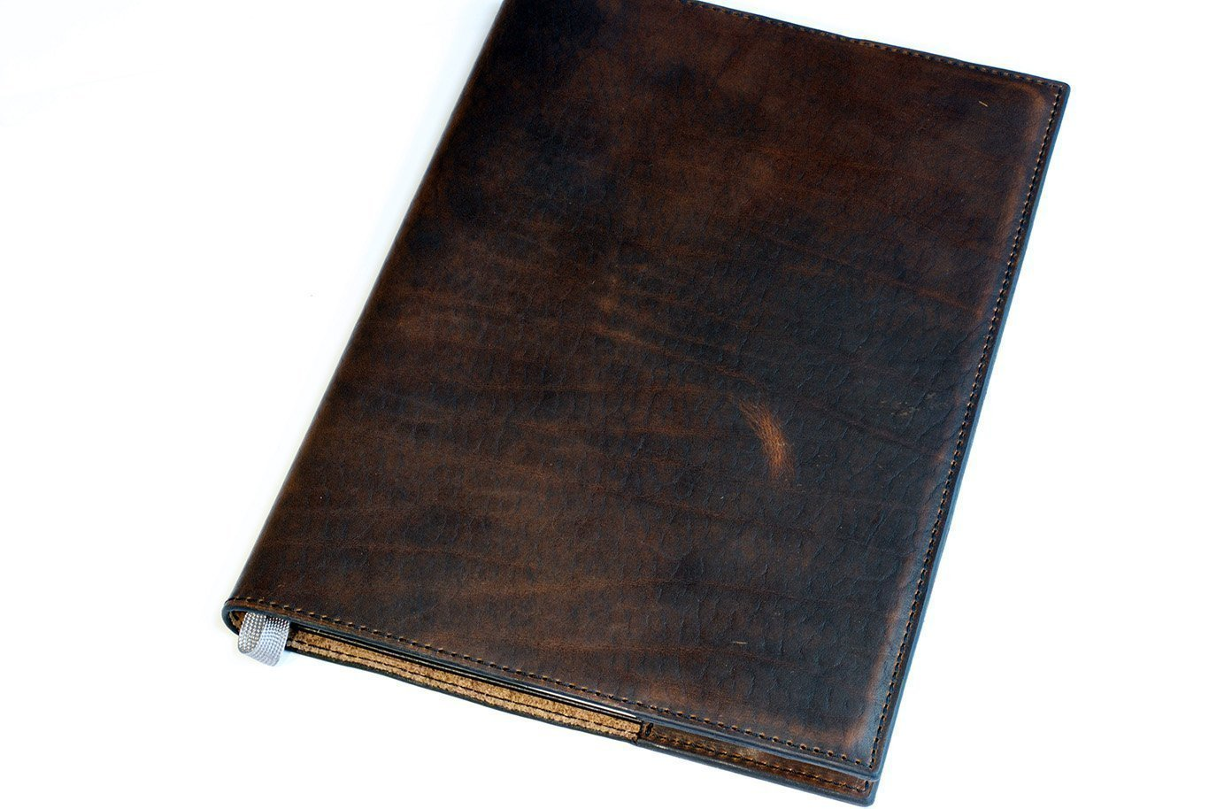 Art Sketchbook in Chestnut Leather Cover with Black Stitching, Moleskine Art Plus Sketchbook XLarge (12 x 8.5) A4 Personalized