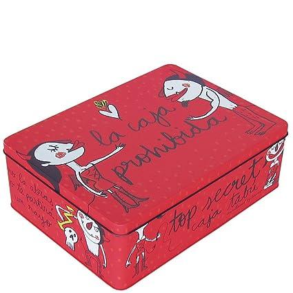 Laroom Caja metálica, Metal, Rojo