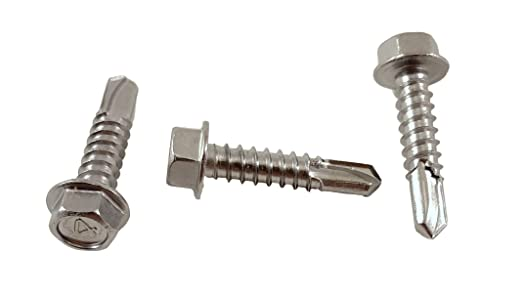 Stainless Steel 410 100 PCS #12 x 3//4 Hex Washer Head Self Drilling Sheet Metal Tek Screws with Drill Point