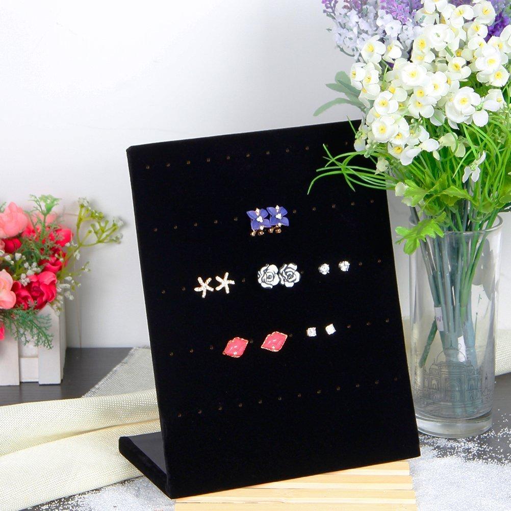 Valdler Earring Holder Velvet Fabric Display Holder Organizer Jewelry Displays 30 Pairs Black