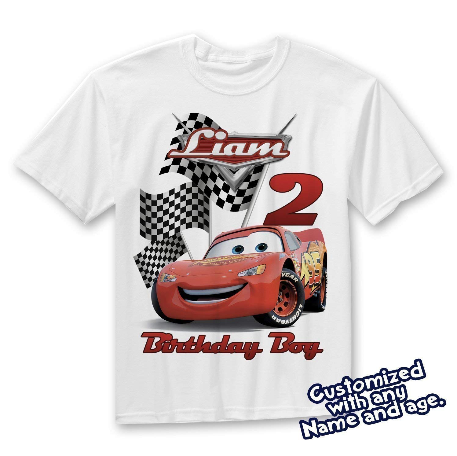 Cars Birthday Shirt Custom Name and Age Personalized Lightning McQueen shirt