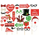 Galaxy Comfort Set Of 31 Christmas Photo Booth Props Party Mask (Multicolor, Pack of 31)