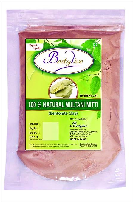 100% natural Multani mitti (Fullers tierra) polvo para eliminar sol marrón Natural por
