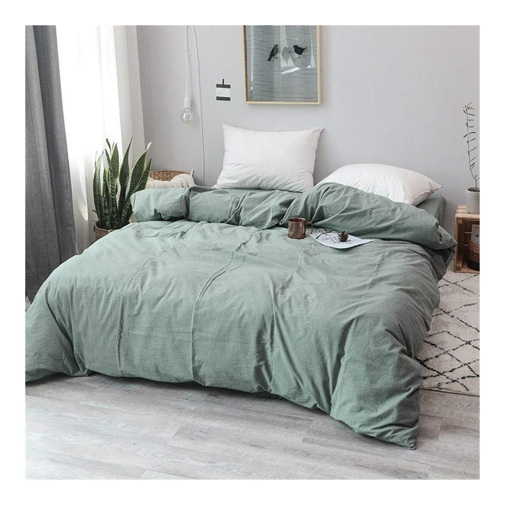 83x83 inch One Pieces 100/% Cotton Yarn Weave Washed Cotton Light Green Duvet Cover Japanese Style Available Color : 1, Size : AU Queen