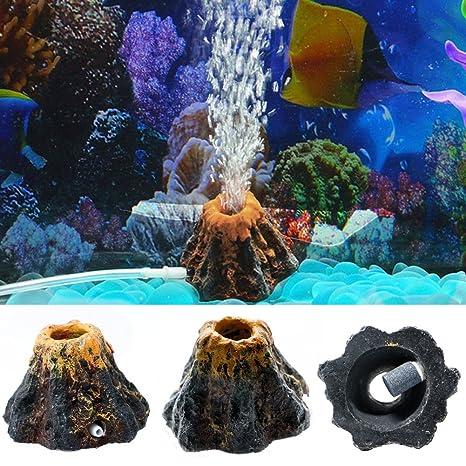 Ornamento en forma de volcán y piedra porosa para bomba de oxígeno de acuario de Dairyshop