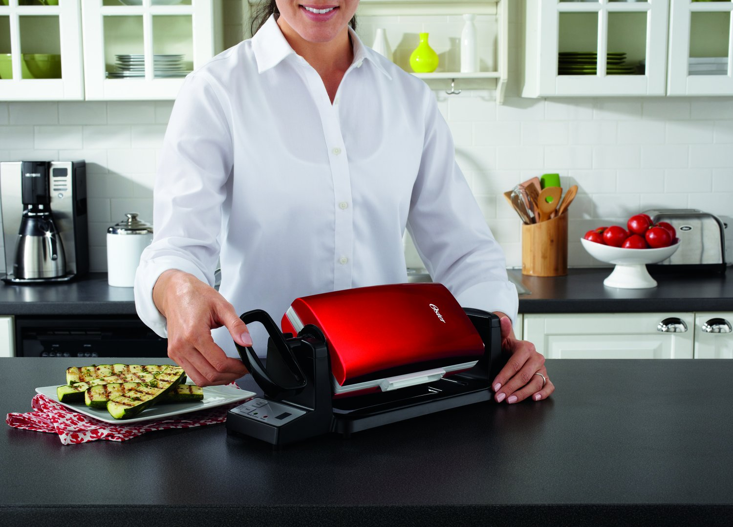 Oster 7-Minute Grill with DuraCeramic Coating and Digital Timer, Red/White, CKSTCG22R-ECO by Oster (Image #3)