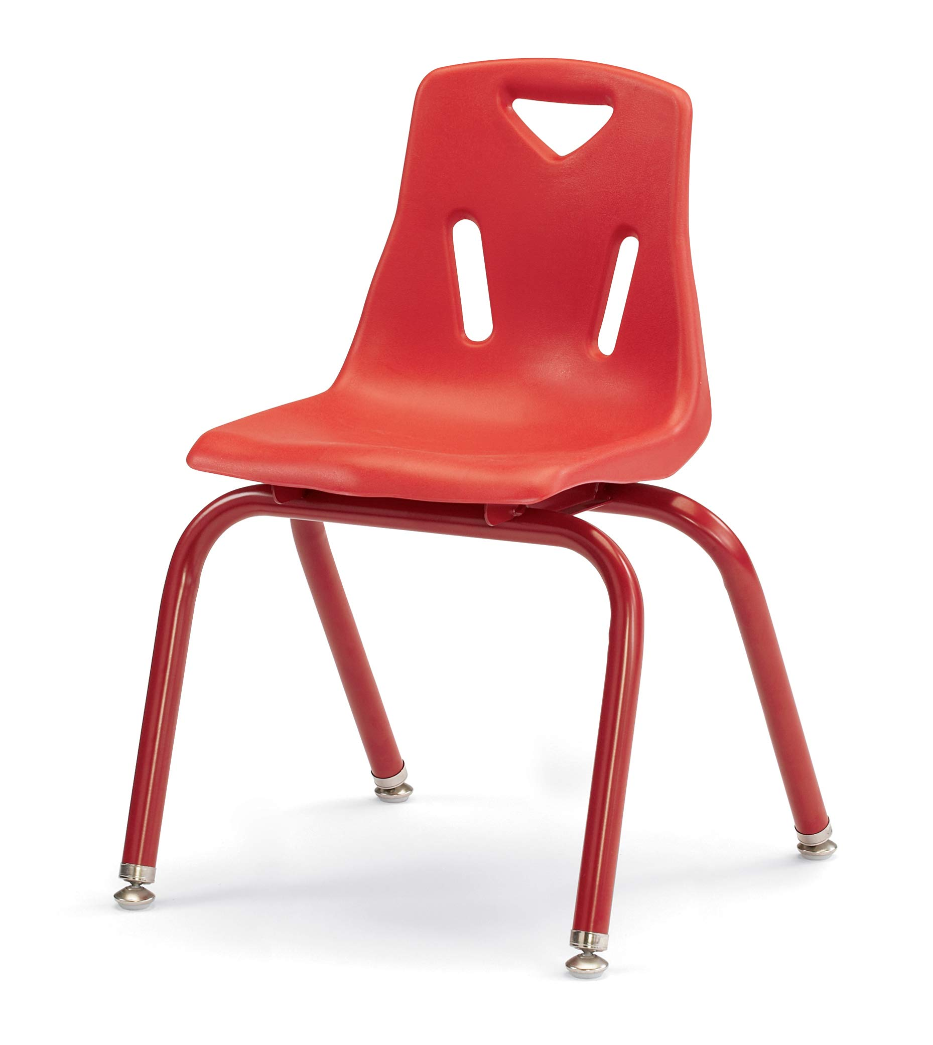 Berries 8124JC1008 Stacking Chair with Powder-Coated Legs, 14'' Height, Red