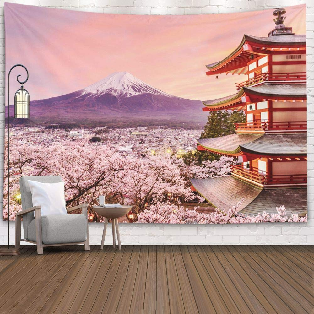 Jacrane Jaipur Handloom Tapestry Wall Hanging Tapestries with 80x60 Inches Japan Pagoda Mt Fuji in The Spring Cherry Blossoms at Chureito Easter Art Tapestry for Dorm Bedroom Living Room Home Decor
