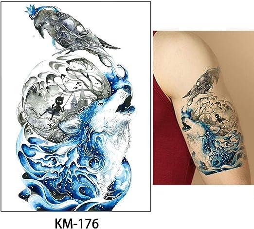 adgkitb Etiqueta engomada Temporal del Tatuaje del Cuerpo Animal ...
