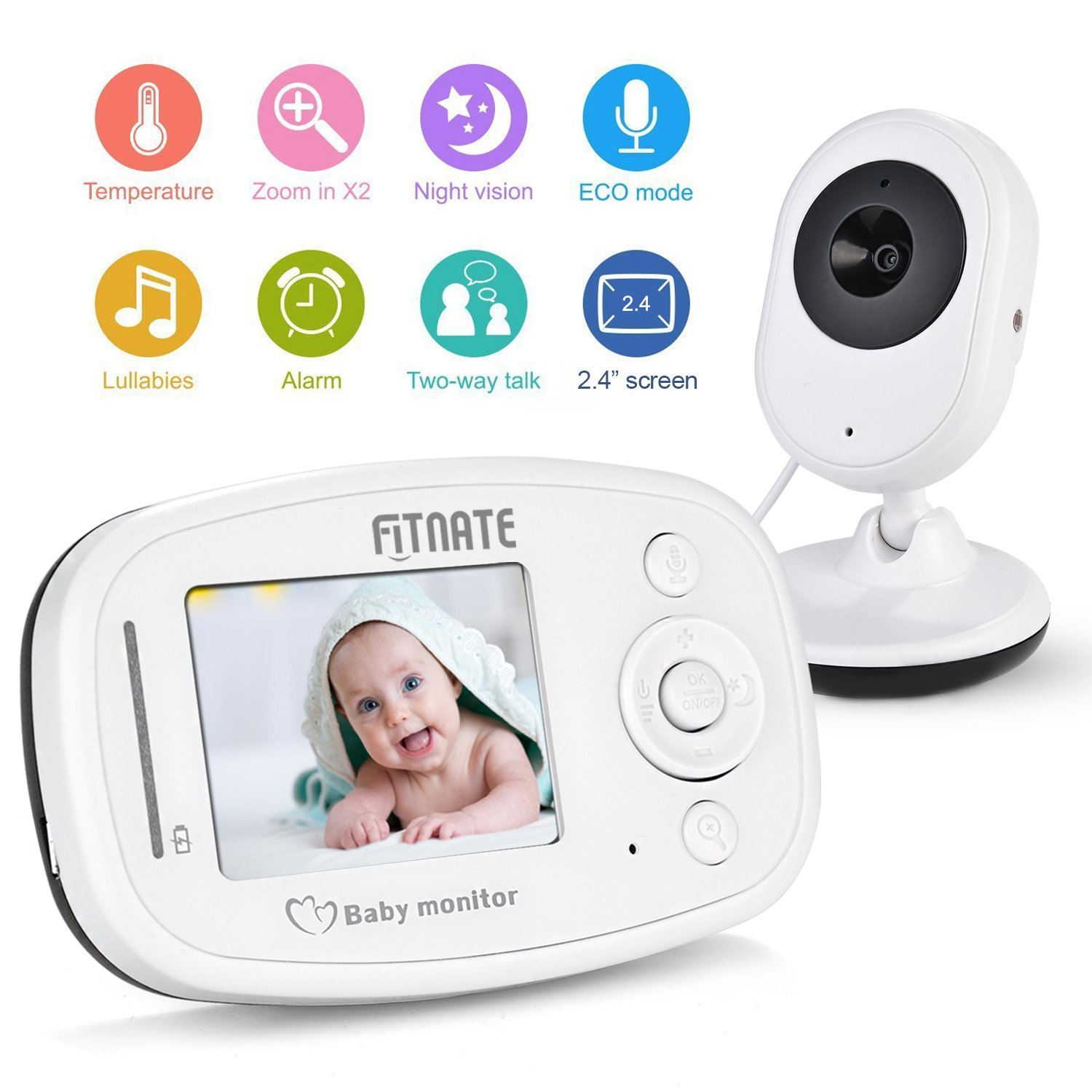 Video Baby Monitor, Fitnate Wireless Baby Monitor with Night Vision Digital Camera, Temperature Monitoring & 2 Way Talkback Audio, Built-in Remote Lullabies Soother System 2.4 inch Color LCD Screen