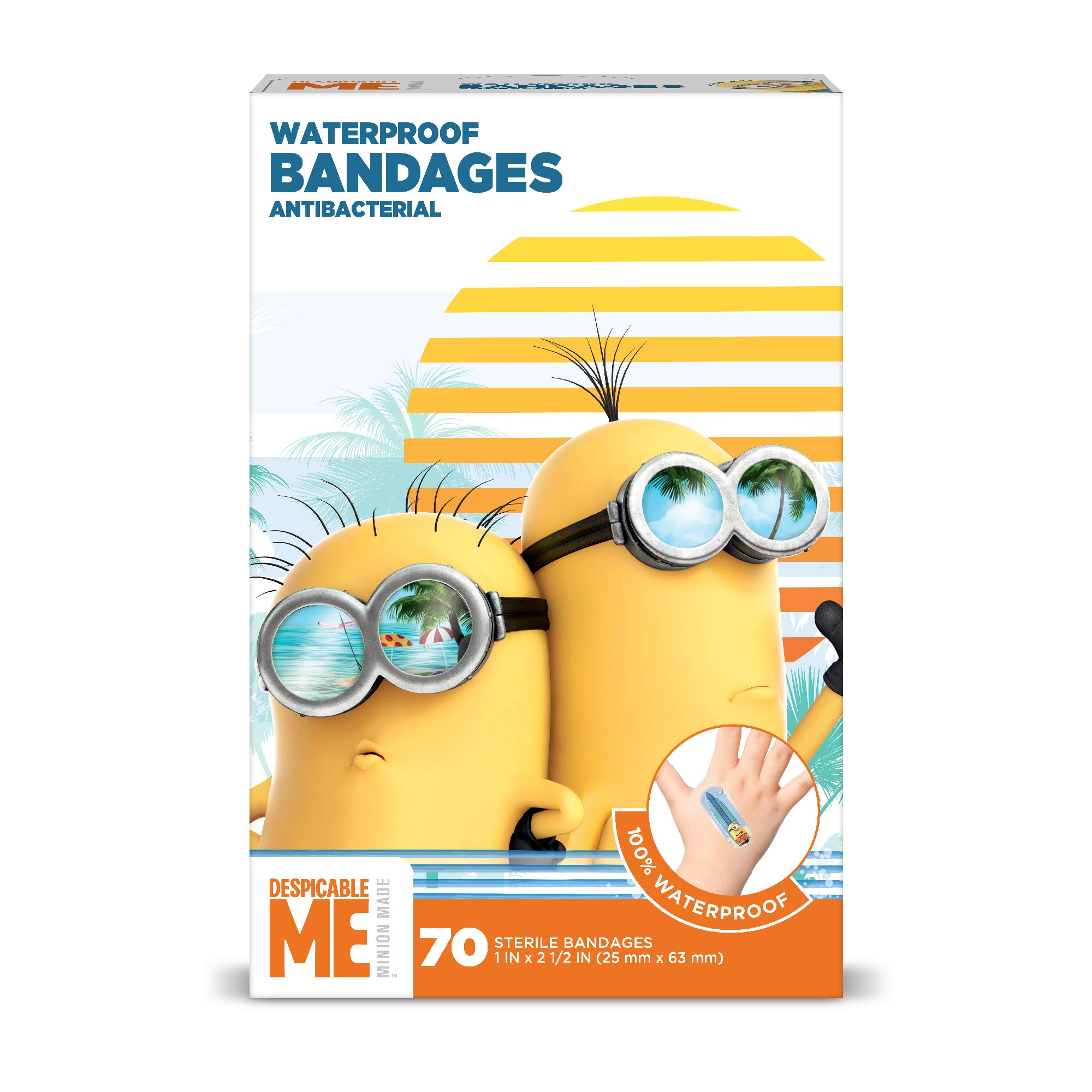 Despicable Me Minions Kids Bandages, 70 ct | 100% Waterproof, Antibacterial Bandages for Use on Minor Cuts, Scrapes, Burns
