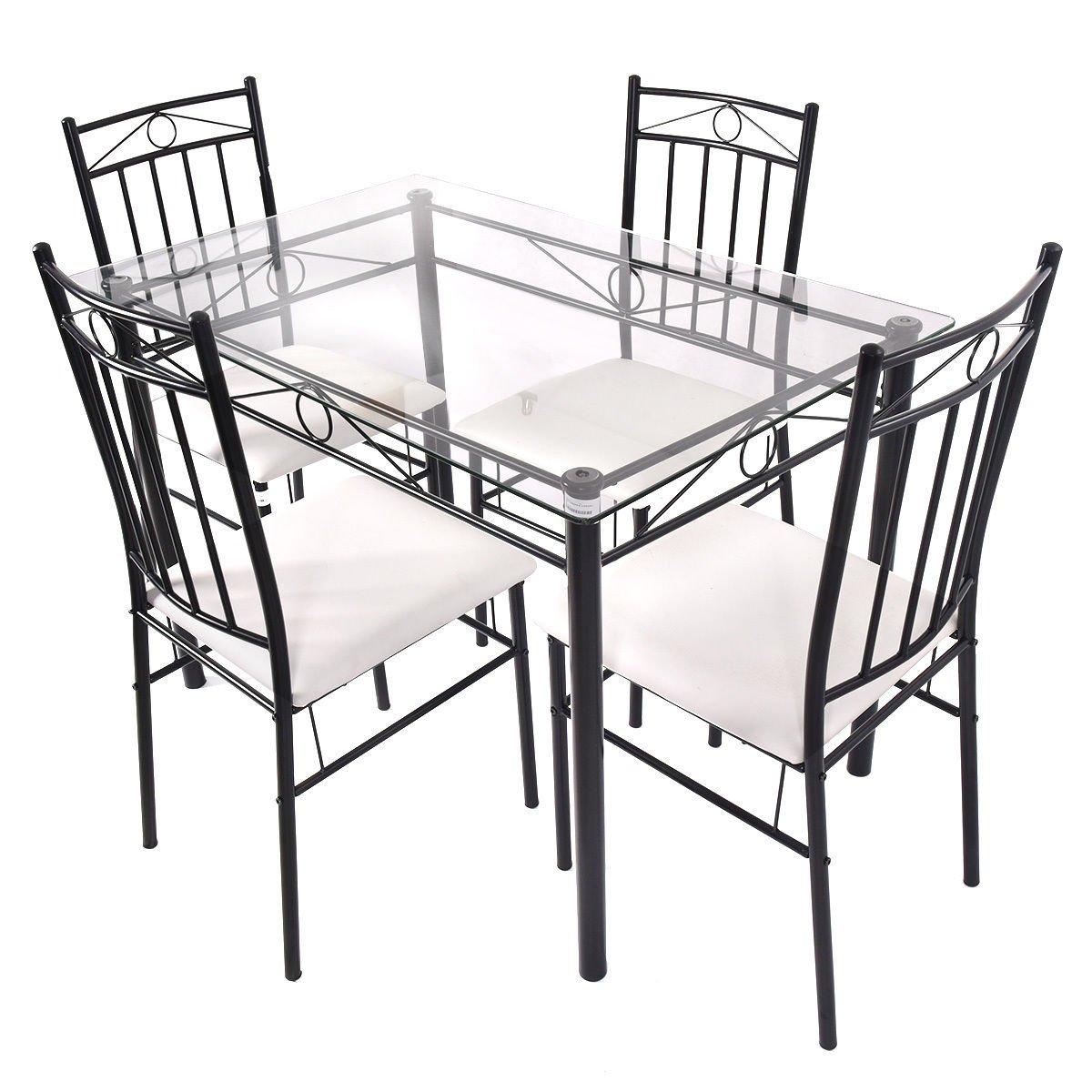 Tangkula 5 Piece Glass Top Metal Dining Set Kitchen