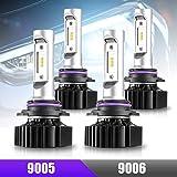 CZC Auto 9005 9006 - Juego de bombillas LED para faros delanteros de luz alta y baja, 4 unidades de faros LED 6000 K, luz bla