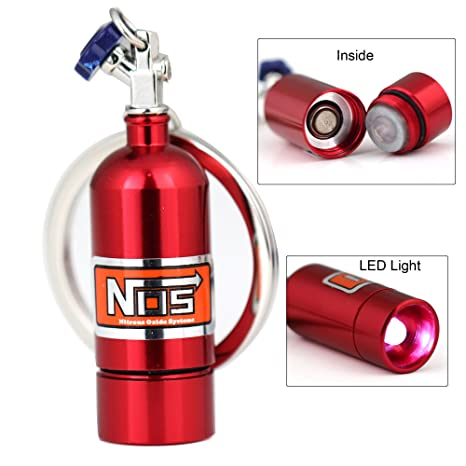 Maycom Creative NOS Turbo Keychain Fashion Mini Nitrous Oxide Bottle  Keyring Key Chain Ring Keyfob LED Light Emergency Lighting Function (Red)