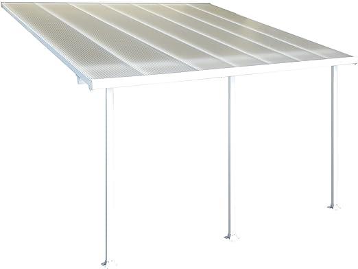 Pergola addossata con estructura de aluminio y cubierta de policarbonato alveolado transparente de 8 mm.: Amazon.es: Jardín