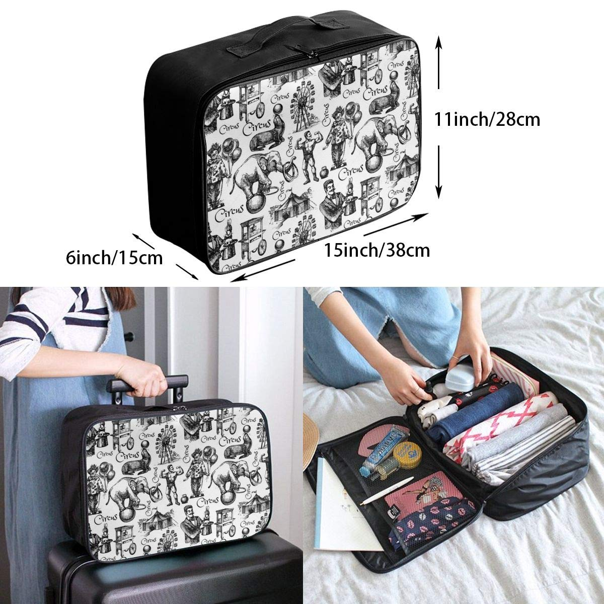 JTRVW Luggage Bags for Travel Portable Luggage Duffel Bag Rose Pattern Travel Bags Carry-on in Trolley Handle
