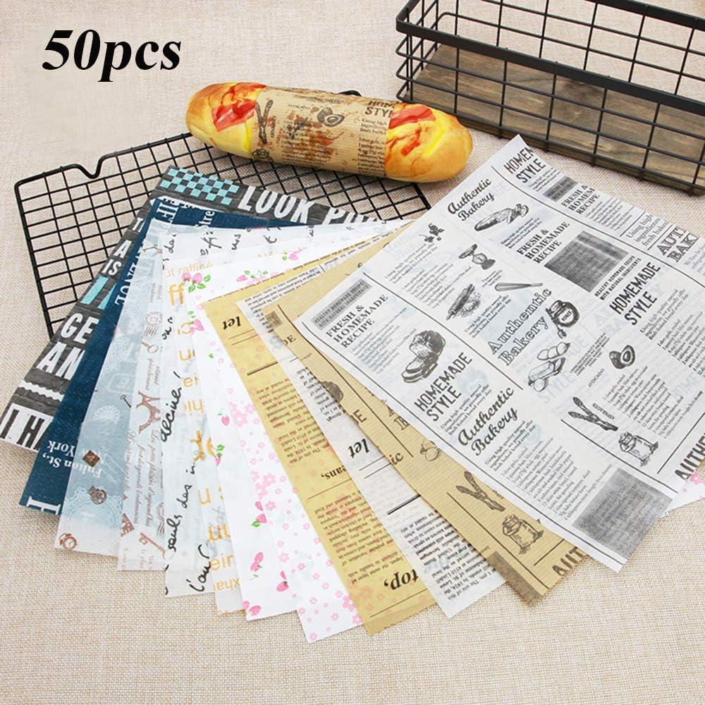 50 St/ück Wachspapier Wasserdicht Lebensmittel-Fettdichte Wrapper Brot /Öl Papier Backen 1