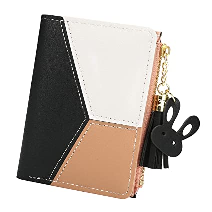 0f91c12d4ba ... Tassels PU Leather Multi-Slots Short Money Bag Slim Card Holder Purse  for Women and Ladies with Heart-Shaped Metal Tassels Pendant Gift Bifold  Clutch