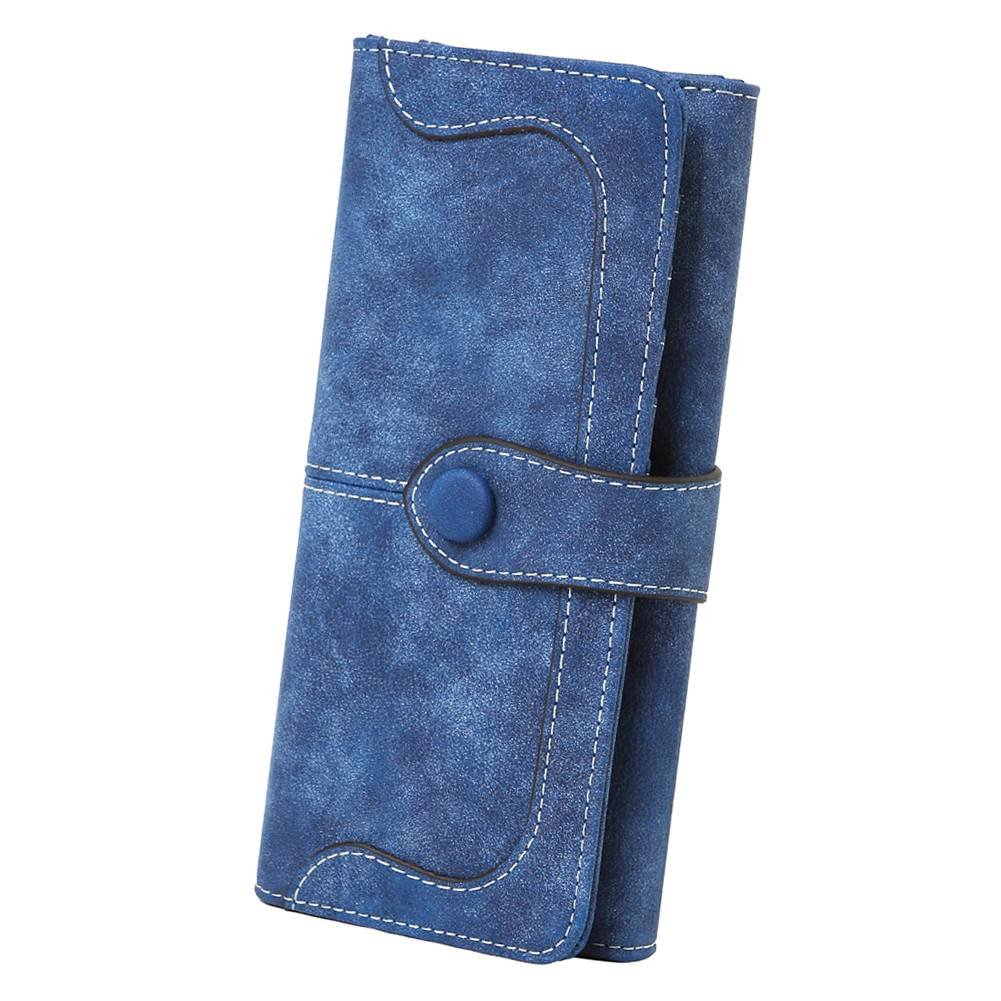 Women's Vegan Leather 17 Card Slots Card Holder Long Big Bifold Wallet,Navy