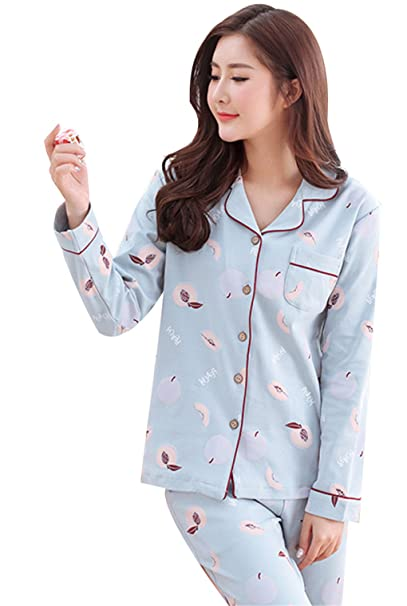Naughtyspicy Camisón de manga larga para mujer con botones Top y pantalón Set de pijama:
