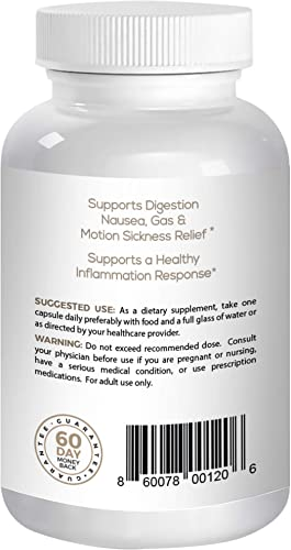 Angel Oak Ginger Root Capsules 650mg – Ground Organic Ginger Powder Supplement -60 Pills Nutritional Support for Nausea, Pregnancy Morning and Motion Sickness, Stomach Aches and Digestion.