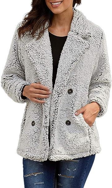 Amazon.com: Paitluc - Abrigo de lana para mujer, solapa de ...