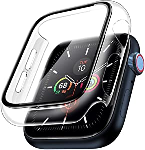 Dolinel Case for Apple Watch Series 5/Series 6/SE/Series 4 40mm with Built-in Tempered Glass Screen Protector, Full-coverage HD Screen Protector Protective Case Cover for iWatch Series 5/6/SE/4 40MM