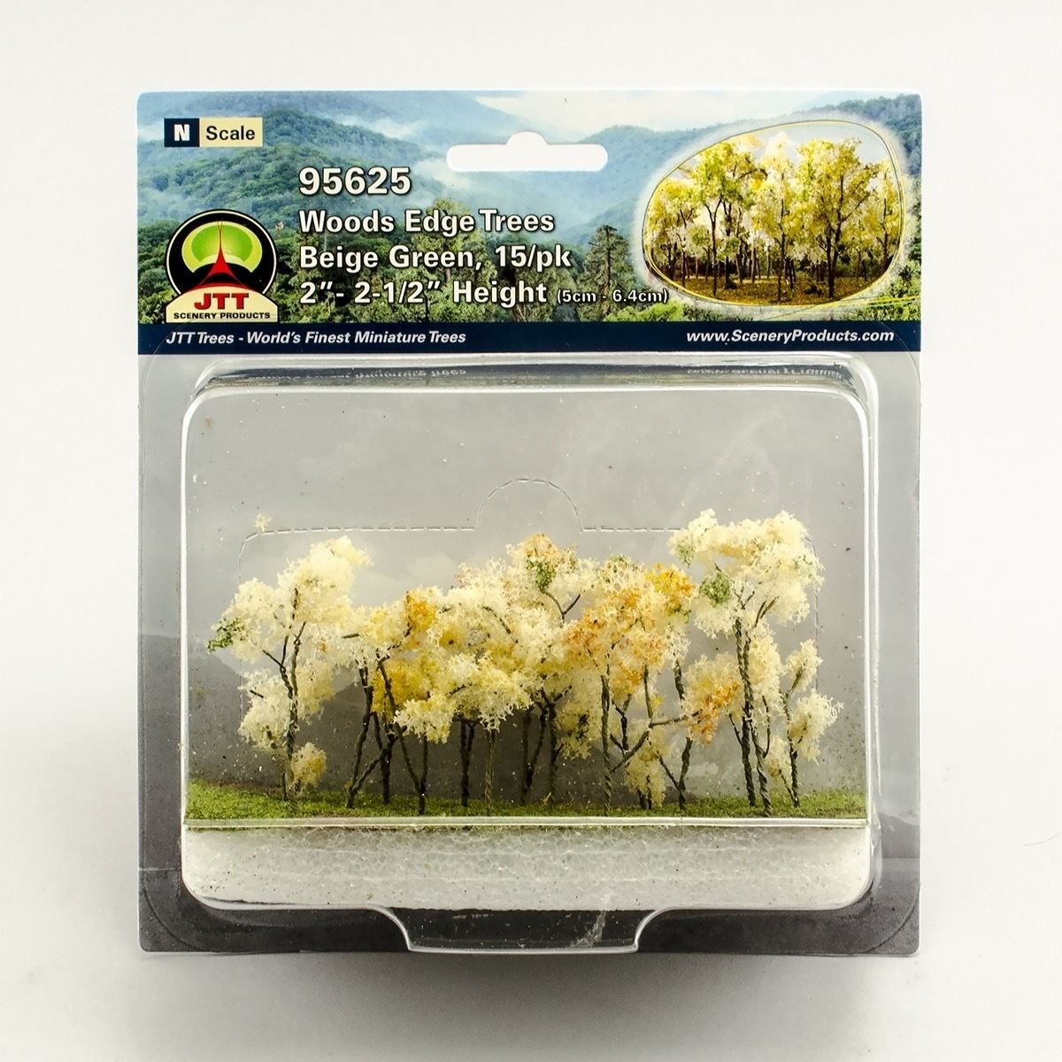 Woods Edge Trees Beige Green 2 to 2.5 N-scale 15//pk JTT